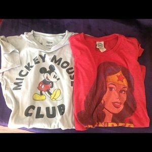 Wonder woman and Mickey Mouse T-shirts